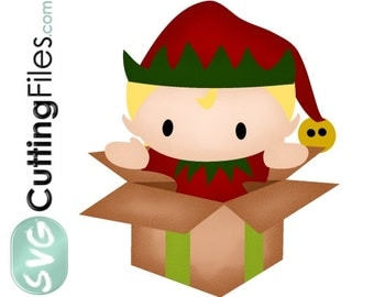 Elf jumping out of a box holiday christmas SVG cutting files cricut  silhouette cutting machines,  for card making and scrapbooking