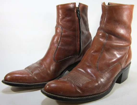 Vintage 1970's Leather Western Brown Side Zipper Boots Size 9