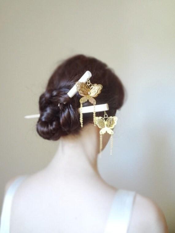 Items Similar To Gold Butterfly Hair Sticks Kanzashi