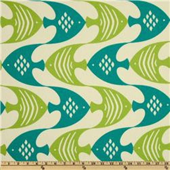 Two 20 x 20  Designer Decorative Pillow Cover for Indoor/Outdoor - Green/Red/Blue Fish