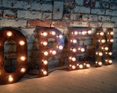 Marquee Light Bulb Letters 14 18 24 36 inch aged copper for any ONE letter or number
