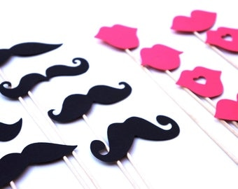 Mustaches and Hot Pink Lips on a Stick - Set of 16 - Birthdays, Weddings, Parties - Photo Booth Props