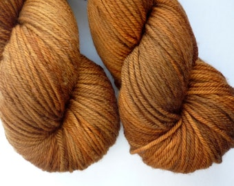 Hand Dyed Worsted Yarn - Superwash Merino Wool Worsted Weight in Pine Bark Colorway