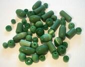Green Cat Eyes Glass Beads