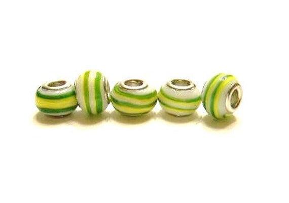 5 Pandora Style, Green and Yellow Glass Charm Beads