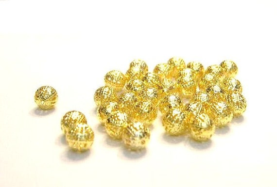 50 Gold, 8mm Filagree Spacer Beads,