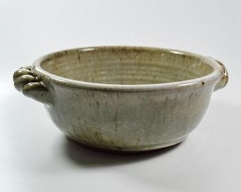 Stoneware Baking Dish Handles Wheel Thrown Buttermilk Glaze