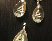 Vintage Intaglio Etched Japanese Crystal and Silver Pagoda Earring / Pendant Set - Xlnt.