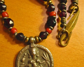Vintage Mexico Brass and Drk. Wine Glass Bead Tribal Necklace w/ Coin Pendant - Excellent.
