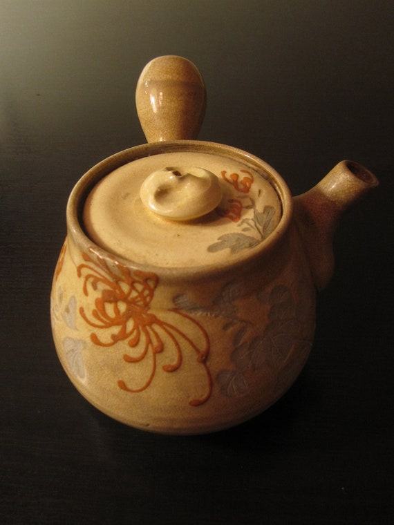 Antique Japanese Yokode Kyusu Stoneware Teapot - Hand Carved and Painted.