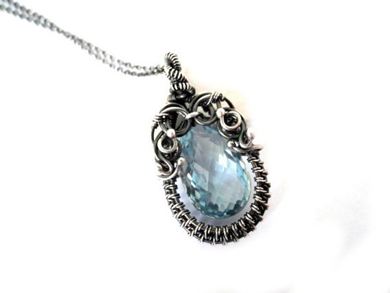 Silver Precious Necklace for elegant woman with natural stone - swiss blue Topaz, set with the sterling silver chain, ooak.