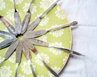 WHOLESALE LOT of 12 Butter Spreaders, Handstamped, Vintage Master Butter Knives, Hostess Gifts, Entertaining, Teacher Gifts, Employee Gifts