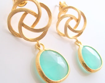 16k Gold plated knot post earrings with mint green framed stone wedding jewelry bridesmaid gifts bridal jewelry birthday gifts