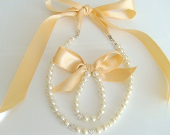 Light champagne flower girl jewelry set with swarovski balls and light champagne ribbon wedding jewelry flower girl gifts