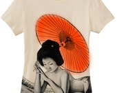 Geisha T shirt - womens tee - siren umbrella great wave japanese hand silkscreened / airbrushed