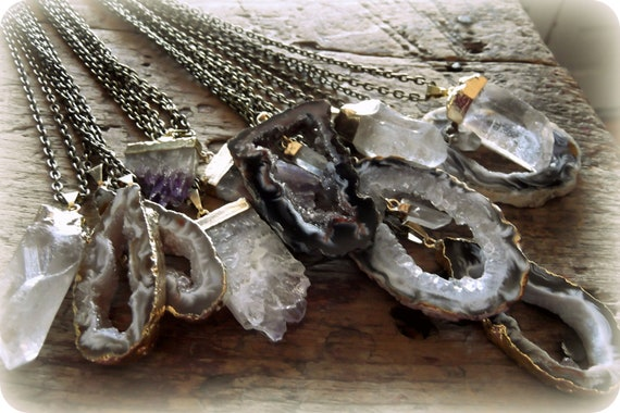 Gilt Gemstone Necklaces, Wholesale Jewelry,Geodes,Crystals, Amethyst