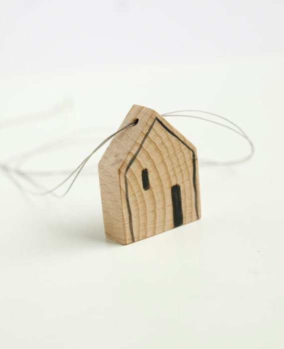 CLEARANCE sale - mini house necklace. natural wood pendant. concrete grey string. contemporary design