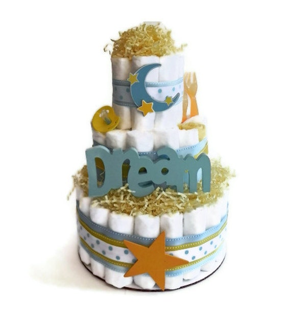 Dream Moon & Stars Diaper Cake - Three Tier Baby Shower Gift or Centerpiece girl boy neutral