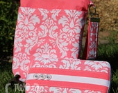 Travel Diaper Changing Set (Girl) - Wet Bag & Wipes Case - Pink and White Damask