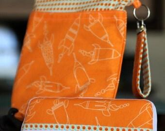 Wet Bag & Wipes Case - Mini Diaper Bag (Boy)  - Tangerine and White Rocket, Space