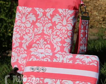 Wet Bag & Wipes Case - Mini Diaper Bag (Girl) - Pink and White Damask
