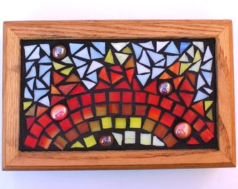 Multi Media Stained Glass Mosaic Keepsake or Jewelry Box:  Here Comes The Sun