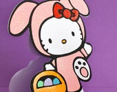 "HELLO KITTY EASTER / Shaped Greetings Card - 8 x 8"" Size"