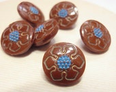 Glass Flower Buttons, Blue & Brown, 6 Vintage 11mm Buttons