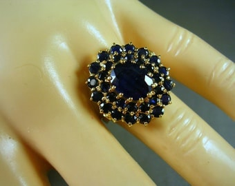 Vintage Sapphire Cluster Ring 4.35 Ctw Size 7.75 14K Yellow Gold 6gm 1970s