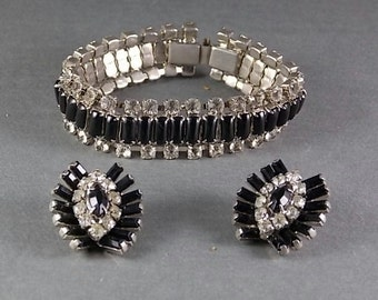 Vintage Black and White Rhinestone Bracelet and Earrings Set 1940s Era 7 inches long Retro Dress up or Goth