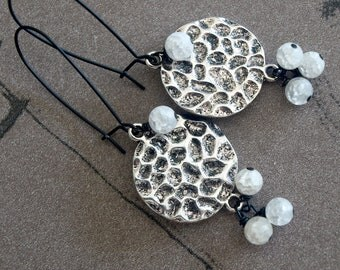 Dangle Black & White Earrings-Glass Cluster Earrings