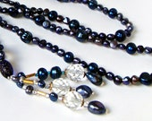 Christmasinjuly, Sale, Blue Pearl Necklace Blue Pearl Bracelet Royal Sapphire, Navy Blue Freshwater Pearls