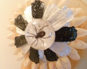 The Black Widow Spider setting Own A Black & White Pinecone Flower With Or Without Silk Flower