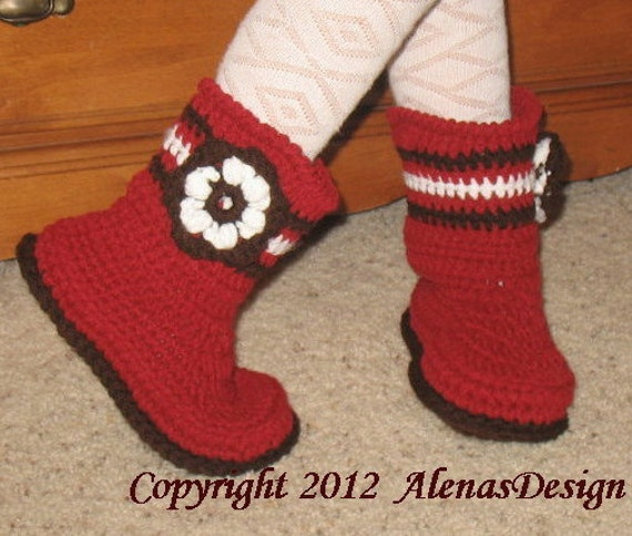 Crochet Pattern 063 - Childrens Boots Alicia includes seven sizes - Boots - Slippers - Girl - Boy - Children - Turquoise Boots - Red Boots