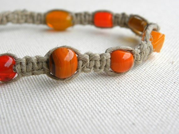 CLEARANCE - Beaded Hemp Anklet -  Orange - Natural Hemp Jewelry - Glass Beads