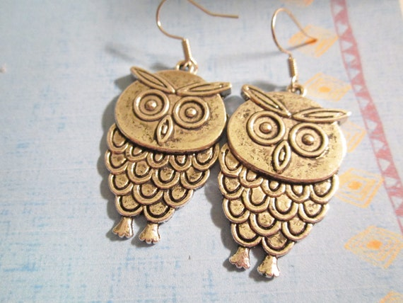 Large Owl Earrings