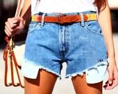 Light Denim Highwaisted Cutoff Studded Jean Pocket Shorts - All Hangin' Out