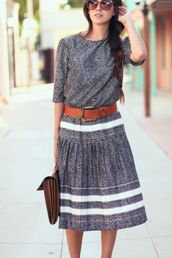 Black White Banded Drop Waist Pleated Geo Print Striped Tiered Dress - LuLu