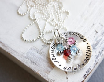 Hand Stamped Jewelry Personalized Sterling Silver Birthstone Mothers Necklace Christmas