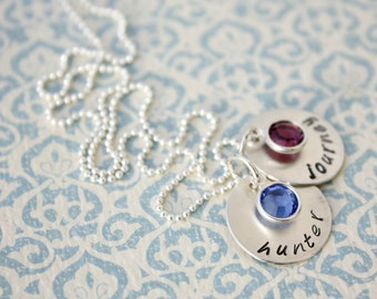 Personalized Custom Hand Stamped Dainty Birthstone Mothers Necklace Christmas