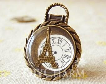 Painted Antique Bronze Vintage Eiffel Tower Pocket Watch Charms 45x35mm - 1Pcs - DC24929