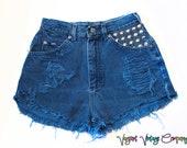 Vintage High Waisted Denim Studded Cut Off Shorts