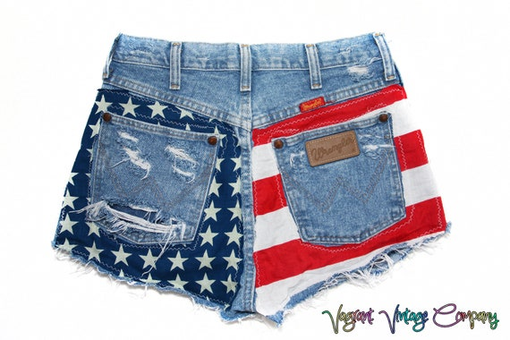 Vintage Wrangler American Flag  denim cut off shorts