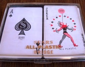 Vintage Double Deck Bridge Playing Cards in Box Sears Roebuck and Co. Wildflower Design