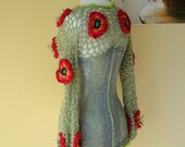 Crochet vest with beautiful poppies