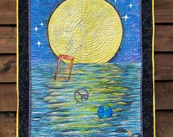 Peace Moon Art Quilt - Original design  Wall Art  AQS Quilt Show