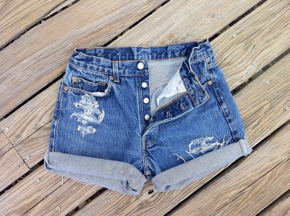 Jean Shorts High Waist LEVI'S 501 Button Fly Distressed Cutoffs Size US 6/7