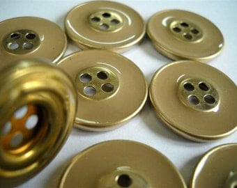 Set of 8  Metal Buttons- Tan color -  22mm buttons- Brass metal Button