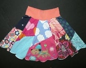 Toddler Hippie Puppy Skirt upcycled recycled t-shirt clothing for girls size 3 3T 4 4T from TWINKLE