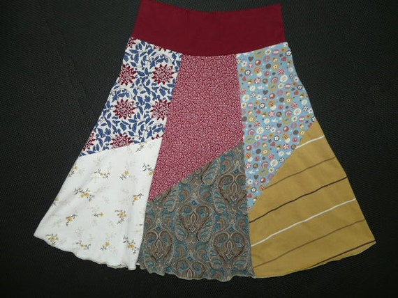 Clearance Sale Boho Chic Hippie Skirt upcycled recycled t-shirt clothing from TWINKLE Women's One Size Fits Most